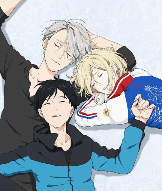Victor, Yuri y Yuuri duermen sobre el hielo en una imagen oficial del staff.