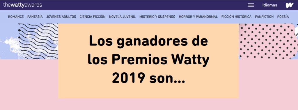 Imagen de la página de los Wattys de Wattpad