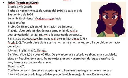 """Ficha de Rahni, personaje secundario de """"Los Colores de Alisha"""""""